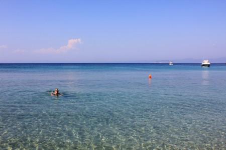 A hidden beach on the Sithonian Peninsula, Halkidiki, Greece.